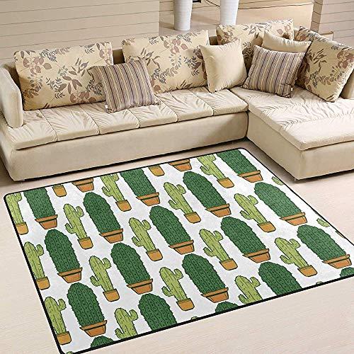 Liz Carter Teppiche Topfpflanzen Green Cactus Pattern Bodenmatte für Innen/Außen Sofa Teppich rutschfest Home Hotel Teppichmatte für große Flächen 72 x 48 Zoll -