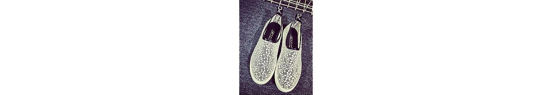 ZQ gyht Zapatos de mujer - Tacón Plano - Comfort - Mocasines - Casual - Tul - Negro / Blanco , white-us8 / eu39... -