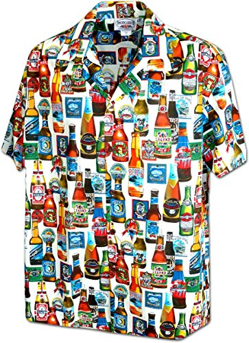 Pacific-Legend-Original-Hawaiian-Shirt-For-Men-S-4XL-Short-Sleeve-Front-Pocket-Hawaiian-Print-Beer-white
