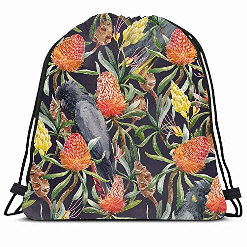 KAKALINQ Drawstring Backpack String Bag Pink Cockatoo Tropical Watercolor Pattern Australian Banksia Flower Nature Yellow Africa Australia Banks Sport Gym Sackpack Hiking Yoga Travel Beach -