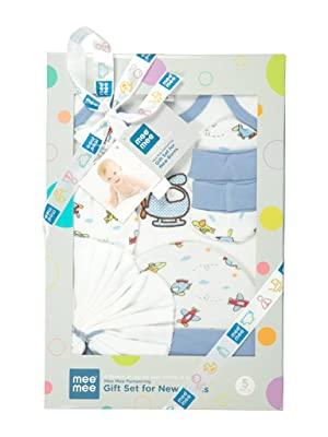 Mee Mee's Pampering Gift Set for New Borns (5 pcs - Print II, Blue)