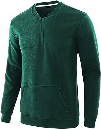 VANVENE Men Pullover Fleece Sweatshirts Half Zip Sweatshirt Long Sleeve Jumper Crewneck Plain Loose fit Top