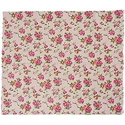 Tela de algodon retro de lino rosas liberty para tapizar sillas descalzadoras para manualidades, costura cojines guirnaldas caravanas escaparates cortinas 1 m x 50 cm .de OPEN BUY
