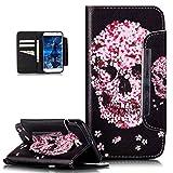 Galaxy S6 Edge Plus Hülle,Bunte Gemalt Malerei Muster PU Lederhülle Schutzhülle Handyhülle Taschen Handy Tasche Flip Wallet Ständer Schutzhülle für Galaxy S6 Edge Plus,Kirschblüten Blumen Schädel