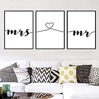 Nordic Ideas Set de 3 Posters Mr et Mrs Citation Murale Amour Affiche Minimaliste Noir et Blanc Tableaux Décoration…