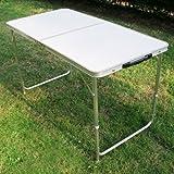 SPEED Klapptisch Campingtisch Garten Tisch klappbar Aluminiumlegierung + Feuerbrett 120×60×54/70CM Weiß 215103