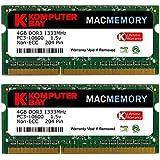 Komputerbay MACMEMORY 8GB (2x 4GB) DDR3 PC3-10600 1333MHz SODIMM 204-Pin Memoria del ordenador portátil para Apple Mac