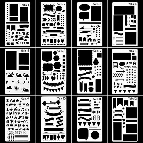 Hemore Magazinschablone Kunststofffolie Schablonen Zeichnungen DIY Tagebuch/Tagebuch / Scrapbook Schablone Stencil 4 x 7 Zoll, 12 Stück -