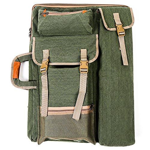 Mochila/cartera para portafolio de artista, Tourwin Canvas 4K, de lona, para tabla de dibujo y con varios bolsillos multiuso, para dibujar, hacer bocetos o pintar Army Green