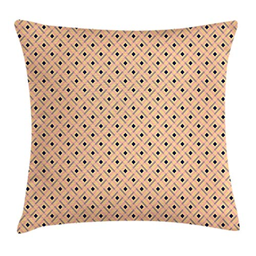 Argyle Throw Pillow Cushion Cover, Diagonal Stripes and Rhombuses Geometric Composition Pastel Colors, Decorative Square Accent Pillow Case, 18 X 18 inches, Peach Navy Blue Pale Pink Argyle Stripe Tie