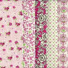 Textiles français Stoffpak bundle de telas - 5 telas: rosa, crema, verde, Burdeos y gris - colección de telas (con flores) 'fresas con crema' | 100% algodón | 35 cm x 50 cm