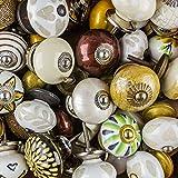 Keramik Vintage Antik Porzellan Shabby Chic Vintage Möbelknopf Möbelknöpfe braun, natur, gold, weiss, creme - Wühltischangebot - Griffe, Knäufe, Schrank, Schublade, Kommode
