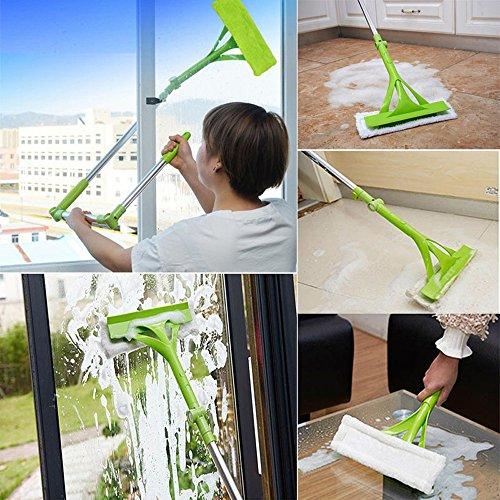 Frashing Teleskopischer faltbarer Handgriff Reinigungs Glas Schwamm Mopp Reiniger Fenster ausziehbar