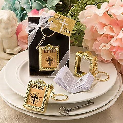 6 Miniature réel Paper Holy Bible Keyrings Porte-clés - Cadeaux Baptêmes Faveurs - Gold (2