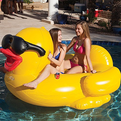 Poo float gonfiabile, grande anatra gialla gigante unicorno piscina galleggiante, tg zattera gonfiabile estate piscina sdraio spiaggia galleggianti e sdraio per adulti e bambini, 74x 61x37in
