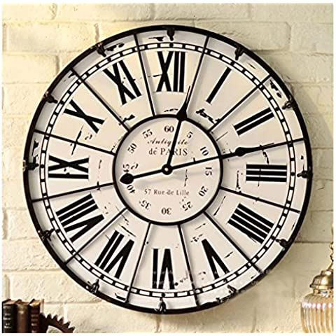 Sala de estar del tamano de la pared reloj de hierro labrado número romano mudo reloj de pared retro