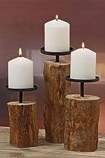 """3er-Set Kerzenleuchter Kerzenständer """"Tempe"""" Holz - H14/18,5/23,5cm"""