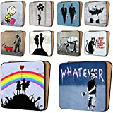 Banksy Coasters Mix2 - 10 New, Rainbow Warriors, Panda With Guns, Fallen Angel & More - Dinnerware Coaster Sets 11cm x 11cm