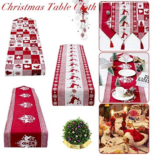 Tovaglia natalizia in cotone e lino da tavolo a tema di panno per decorare casa cena da tavola lavabile cucina stile vintage natale tovaglioli di lusso ricamato da pranzo decorazioni 35*170cm b:white background red elk