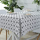 GWELL Nappe de Table carrée/rectangulaire en Lin Nappe Anti-salissure, Lavable et Facile d'Entretien 2 Couleurs & 5Tailles au Choix