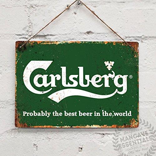 Carlsberg–réplica Vintage placa metálica para la pared Retro pub bar Ale Mancave, 20x14cm STICKY PADS