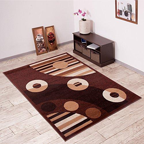 Tapiso Scarlet Teppich Kurzflor Designer Teppiche mit Linien Kreise Abstrakt Muster in Modern Braun Beige Ideal für Wohnzimmer, Schlafzimmer Ökotex 140 x 200 cm (Teppich Streifen Floral)