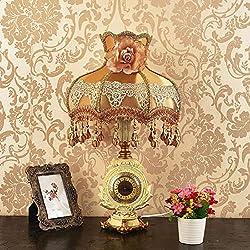 LTD Lámpara de Mesa Estilo Europeo Metal Dorado Lampara Mesa Clásico Reloj de Correa Sala Estar Sala Estudiar Comedor Hotel Luz de Lectura para Niños Los 60 * 36 * 15Cm Resina/B / °Ž