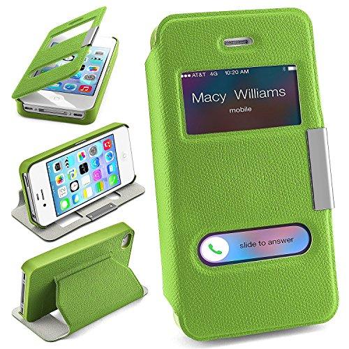 Pochette OneFlow pour iPhone 4 / 4S housse Cover à fenêtre | Flip Case étui housse téléphone portable à rabat | Pochette téléphone portable housse de protection accessoires téléphone portable protecti LIME-GREEN