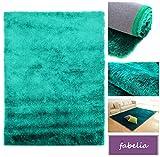 Fabelia Hochflor Teppich Shaggy Gentle Luxus - Satin Luxury - Wohnzimmer/Schlafzimmer (200 cm x 290 cm, Türkis)
