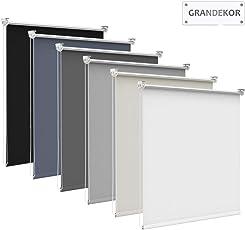 Grandekor Thermorollo, Verdunkelungsrollo Klemmfix Rollo ohne Bohren Sichtschutz Silberbeschichtung lichtundurchlässig inkl.Zubehör für Fenster & Türen