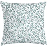 Throw Pillow Leaves Cushion Cover, Peppermint Foliage Pattern on a Dotted Background Blossoming Nature, Decorative Square Accent Pillow Case, 18 X 18 Inches, Slate Blue and Bluegrey