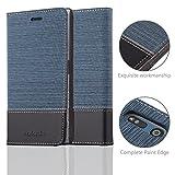 Cadorabo - Book Style Schutz-Hülle für > Sony Xperia XZs / XZ < case cover im Stoff - Kunstleder Design mit Kartenfach, Standfunktion und unsichtbarem Magnet-Verschluss in DUNKEL-BLAU-SCHWARZ -