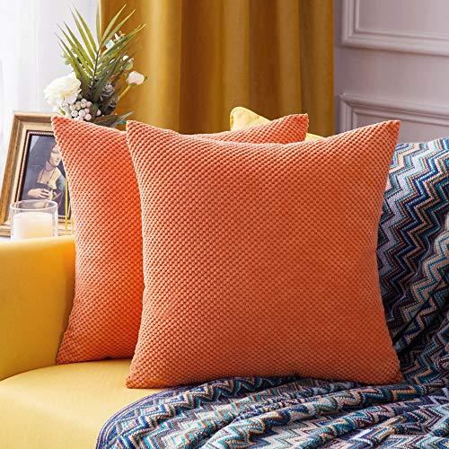 """MIULEE 2er Set Granulat Kissenbezug Ananas Weiches Massiv Dekorativen Quadratisch Überwurf Kissenbezüge Kissen für Sofa Schlafzimmer Auto 18\""""x18\"""", 45 x 45 cm Orange"""