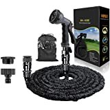 """HOMOZE 50ft Expandable Garden Water Hose Pipe with 3/4"""", 1/2"""" Fittings, Anti-leakage - Flexible Expanding Hose with 8 Functio"""