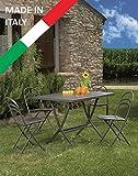 Set Tisch Hermes 120x 80und 4Stühle Flipper faltbar Metall Garten Terrasse Balkon
