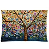 Hidoon® Love Tree Color Rainbow Candys Wave Polka Dot Cute Adorable Custom Cotton & Polyester Soft Rectangle Pillow Case Cover 20X30 Inch
