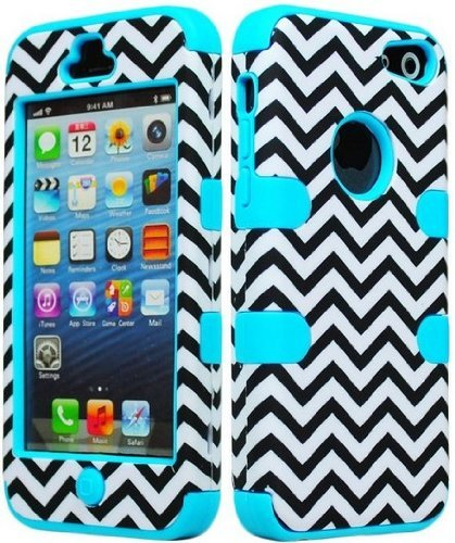 Bastex Hybrid Hard Case für Apple iPod Touch 5, 5. Generation – Sky Blau Silikon mit Schwarz & Weiß Chevron Muster (Ipod Touch 5 Zerolemon)