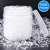 Clear Hair Bands, EAONE 1500 Pieces Clear Hair Elastic Hair Bands, Rubber Hair Ties with Free Box for Girls