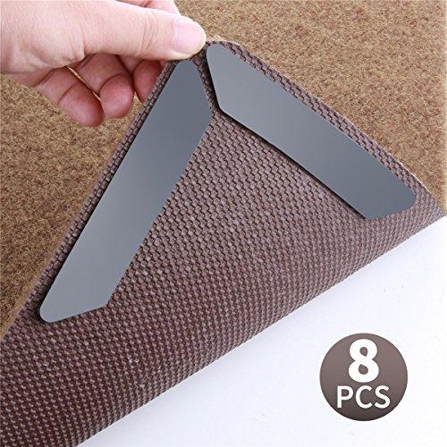 Teppich Greifer (8pcs) - Beste Anti Curling & Non Slip Teppichgreifer Anti Rutsch Teppichband Starke Klebrigkeit ohne Boden zu verletzen, Stop Rutschen, wiederverwendbar für verschiedene Böden und Teppich-Pads (schwarz)
