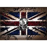 Vlies Fototapete PREMIUM PLUS Wand Foto Tapete Wand Bild Vliestapete - Totenkopf Rose Stachel England Nieten - no. 719, Größe:300x210cm Vlies