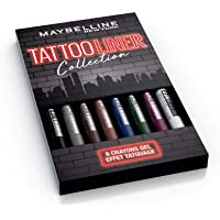Maybelline New-York - Coffret de 8 Crayons Gel Effet Tatouage - Tattoo Liner - Teintes: Noir (900), Gris (901), Marron…