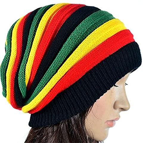 women knit Baggy Beanie Rasta Hat Winter Multi-Color skull caps Skullies Beaniesfor Christmas Thanksgiving Mother's father's Day Birthday