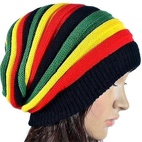 Les femmes Baggy Beanie Knit hat Rasta Multi-couleurs hiver noël Beaniesfor Skullies calottes de grâce Le jour de père Mère cadeau anniversaire