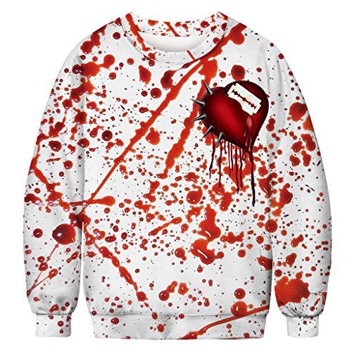Writtian Herren Damen Unisex Paar Cosplay Horror Schädel Geister Individualitäl 3D Druck Pullover Sweatshirt Jacke Halloween Kostüm Bedruckte Tunnelzug Pullover Casual Täglichen (Einzigartige Schädel Kostüm)
