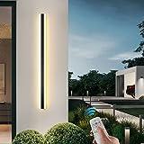 Extérieures LED Terrasse Appliques Avec Télécommande Dimmable, Moderne Étanche Longue Barre Lumineuse Noire Métal Acrylique 3