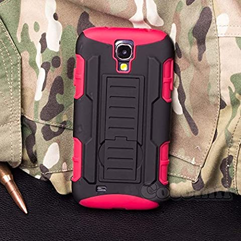 Galaxy S4 Mini Coque, Cocomii Robot Armor NEW [Heavy Duty] Premium Belt Clip Holster Kickstand Shockproof Hard Bumper Shell [Military Defender] Full Body Dual Layer Rugged Cover Case Étui Housse Samsung I9190 I9195 (Red)