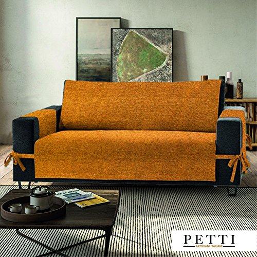 Petti, Artigiani Italiani - Copridivano (Misura) (Colore), 100% Made in Italy, con elastici e tasche laterali (giallo, 4 Posti (230-235 cm da bracciolo a bracciolo))