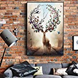 SQSHBBC Nordic Deer Stampe su Tela Stampe su Tela Animali Moderni Alci Poster sul Muro Astratto Cervo Nordico Immagini Pop Art per Soggiorno A 40x50cm Senza Cornice