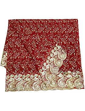 India Vendimia Dupatta Georgette Tela Mujeres Bordado Shawl Granate Tradicional Larga Estola