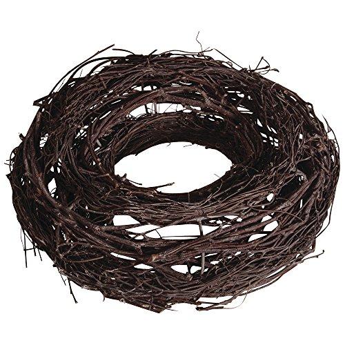 Rayher 65038000ghirlanda vimini legno di vite corona marrone scuro naturale diametro 25cm, 2.5x 2.5x 0.8cm senza decoro per decorazioni natalizie autunnali